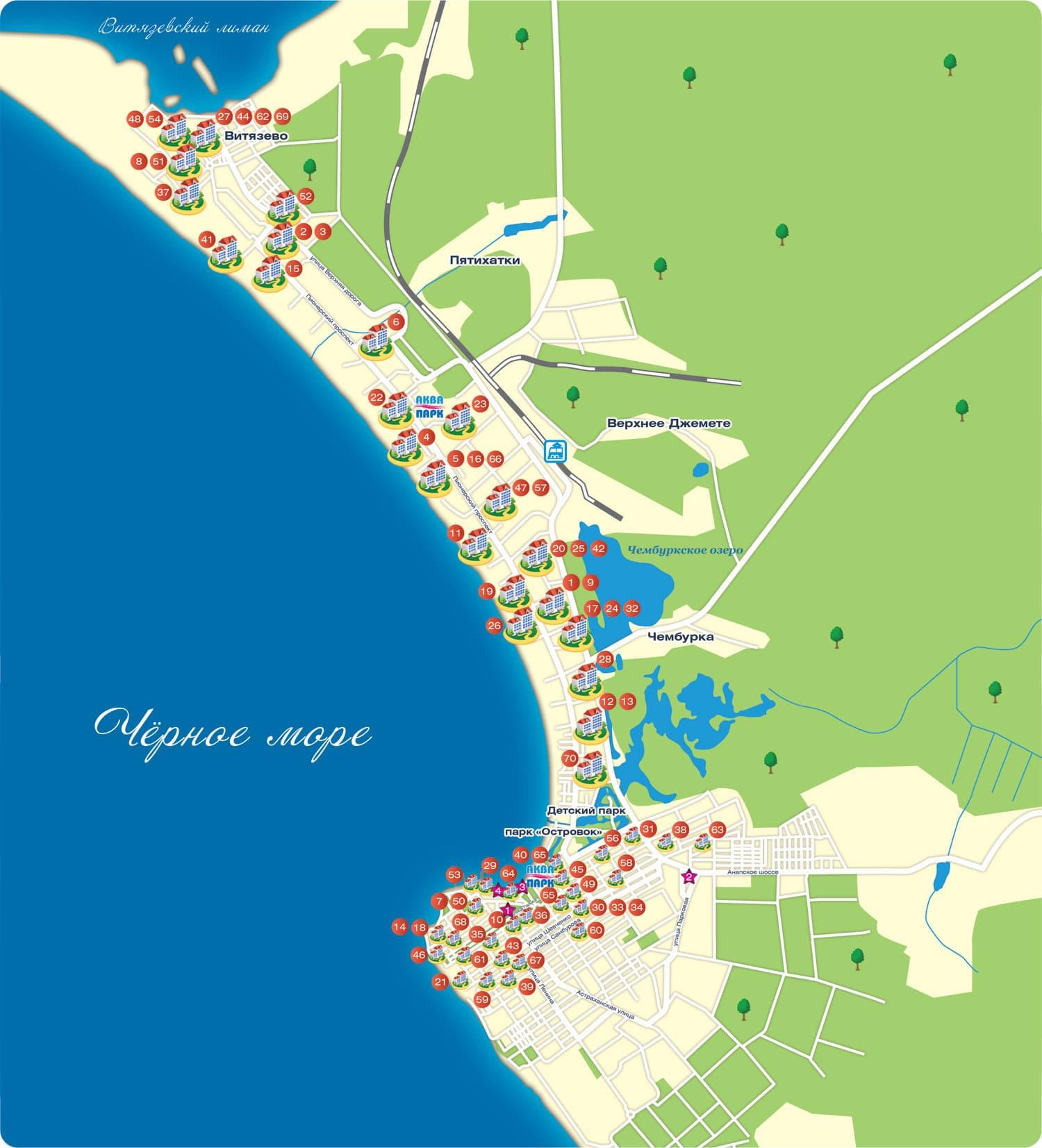 Карта анапы с улицами и домами карта города анапа